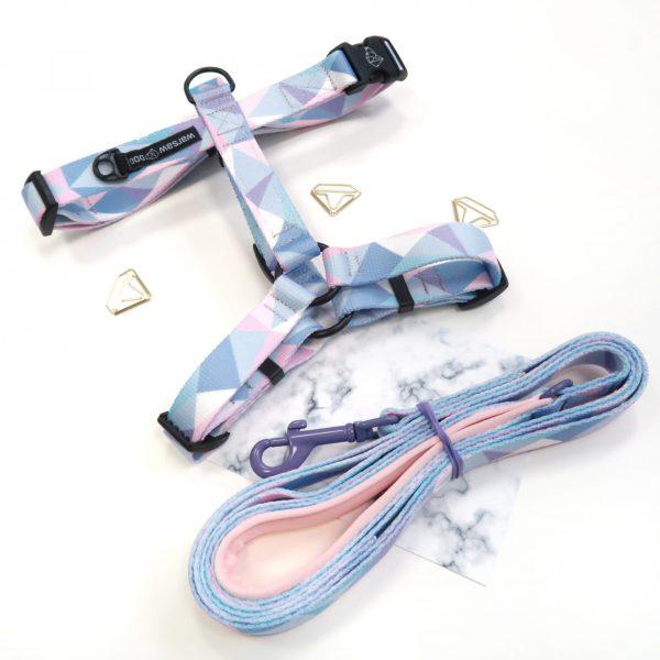 szelki dla psa pastelowe różowe niebieskie candy blue warsaw dog