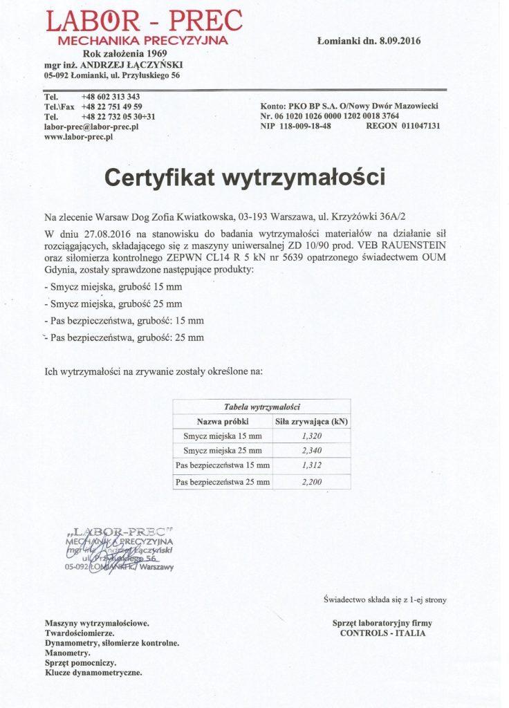 pas samochodowy dla psa z certyfikatem