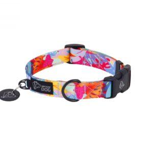 Personalizowana obroża dla psa z nadrukiem w kolorowym wzorze