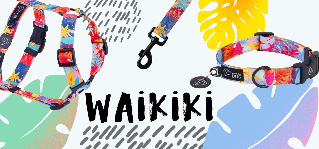 waikiki - nowa kolekcja od warsaw dog: szelki, smycze i obroże dla psów w dizajnerskich wzorach