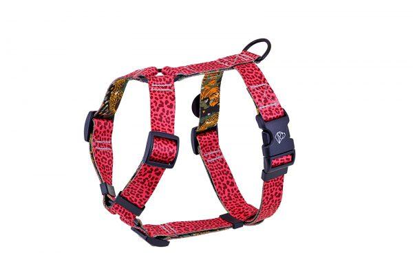 szelki dla psów kolorowe modne nowoczesne panterka doguar różowe