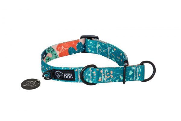 stylowa obroża psa półzaciskowa wzór nadruk kolorowy warsaw dog confetti terrazzo