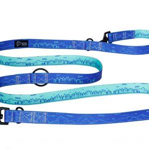 niebiesko miętowa kolorowa smycz dla psa w minimalistyczny wzór polski design dla psów tundra